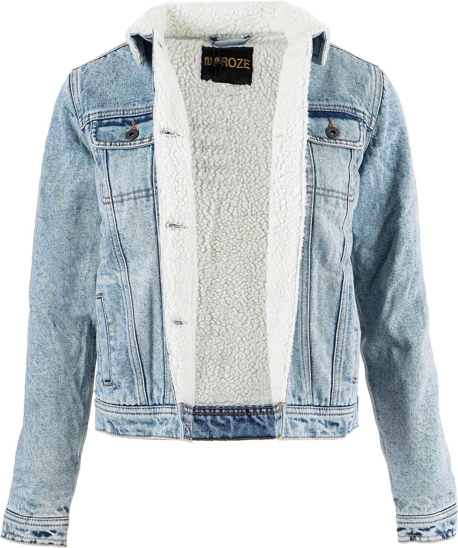NOROZE Womens Sherpa Lined Denim Jacket Ladies Jeans Borg Trucker Coat