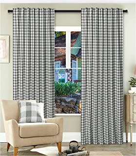 Gingham Check Window Curtain Panel, 100% Cotton, Charcoal/White, Cotton Curtains, 2 Panels Curtain, Tab Top Curtains, 50x84 Inches, Set of 2