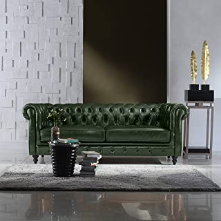 DIVANO ROMA FURNITURE Classic Scroll Arm Real Italian Leather Chesterfield Sofa (Green)
