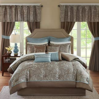 Madison Park Essentials Brystol 24 Piece Room in a Bag Faux Silk Comforter Jacquard..
