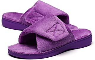 Fuzzy House Slippers with Arch Support Orthotic Heel Cup Sandals for Women
