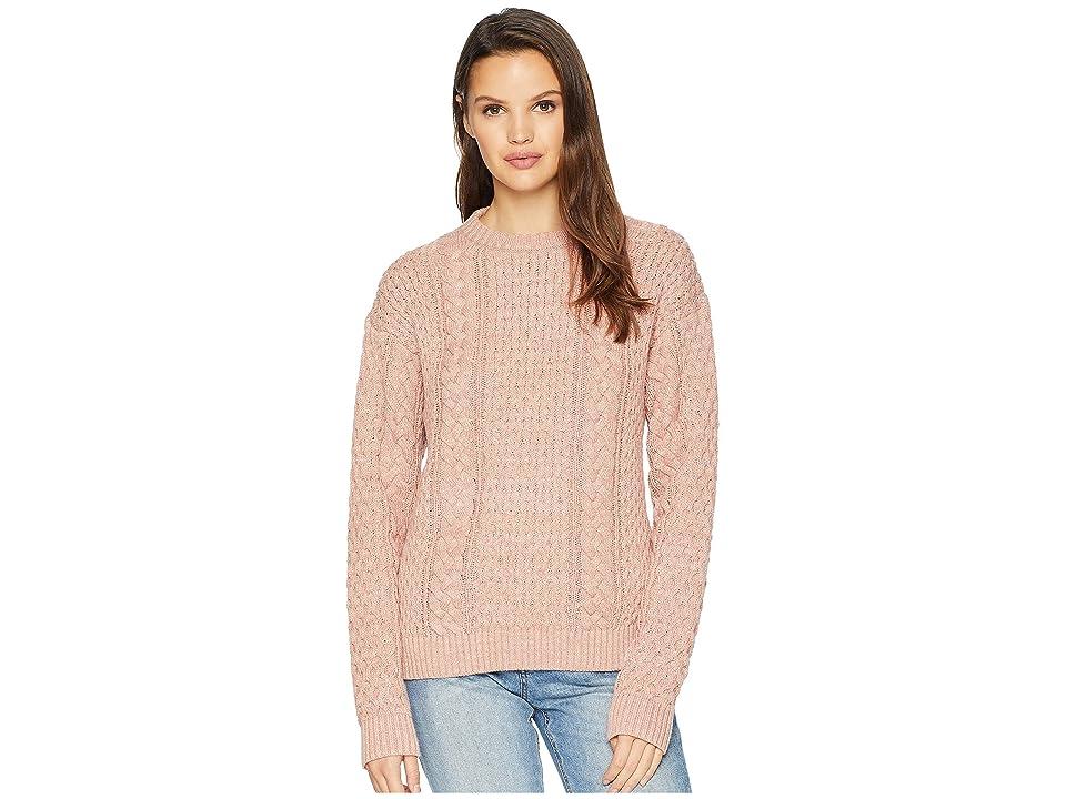 Frye Erin Fisherman Cable Knit Sweater (Misty Rose) Women