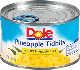 Dole Pineapple Tidbits in 100% Juice 8 Ounce Cans (Pack of 12)