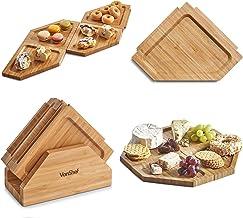 VonShef Vassoio/Tagliere a Puzzle con Supporto – bambù Naturale – Ottimo per intrattenere e per Le Feste – per Pizza, Pane, Formaggio, Sushi, salumi e Altro
