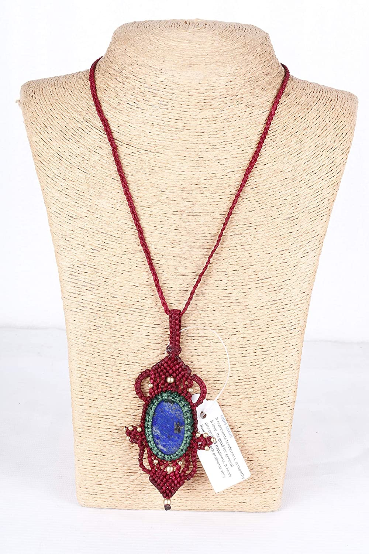 Handmade Macrame NEW Ranking TOP15 Necklace Chick. Pendant Lapis Jewelry Lazuli St