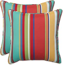 Pillow Perfect Outdoor | Indoor Westport Spring 16.5 Inch Throw Pillow, 16.5 X 16.5 X 5, Blue