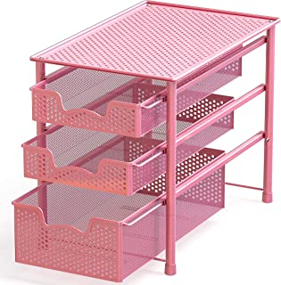 Simple Houseware Stackable 3 Tier Sliding Basket Organizer Drawer (Pink)