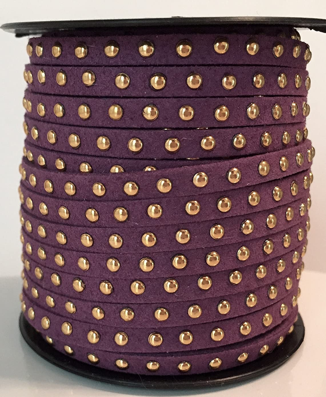 UnCommon Artistry Faux Leather Suede Micro Fiber Cord with Gold Studding (5 Feet) (Purple)