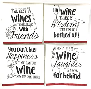 Wine Funny Sayings Kitchen Towels with Hang Loops, Set of 4