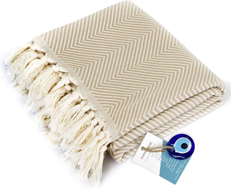 "Luxury Fringe Throw Blanket Decorative Lightweight 100% Cotton  40""x71""  for Chair Couch, Boho Farmhouse Rustic Decor Turkish Towel + Evil Eye Beach Bath Spa Gym Yoga Picnic  White Cream Chevron"