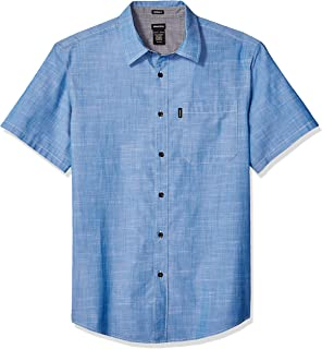 Men's Short Sleeve Chambray Shirt with Contrast Collar