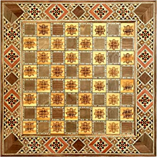 Hand inlaid marquetry mosaic chess board natural wood engraved designs a gift for him or her