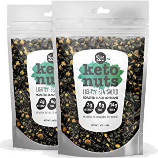 Keto Nuts. Roasted Black Soy Beans Lightly Sea Salted. Low Carbs, High Protein. Healthy Snack. 2 x 5.5 oz bags.