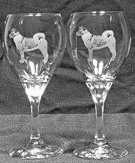 Muddy Creek Reflection Akita Dog Laser Etched Wine Glass Set (2, TDW)