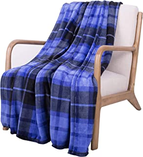 SOCHOW Flannel Fleece Blanket 60 × 80 Inches, All Season Plaid Blue Blanket for Bed, Couch, Car