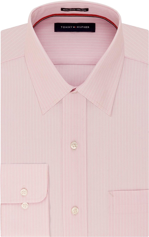 Tommy Hilfiger Men's Dress Shirt Regular Fit Non Iron Banker Stripe