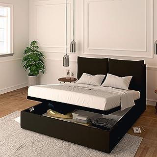 Baldiflex Lit double avec coffre modèle Licia en similicuir, sommier à lattes, pour matelas double 160 x 190 cm, tête de l...