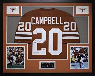 Earl Campbell Autographed Orange Longhorns Jersey - Beautifully Matted and Framed - Hand Signed By Earl Campbell and Certified Authentic by Auto GTSM COA - Includes Certificate of Authenticity