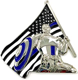 Marvel Captain America - 3D America's Shield & Thin Blue Line Blue Lives Matter USA Flag, Law Enforcement Officers (LEO) NYPD Military Police Challenge Coins with Unique Serial Number
