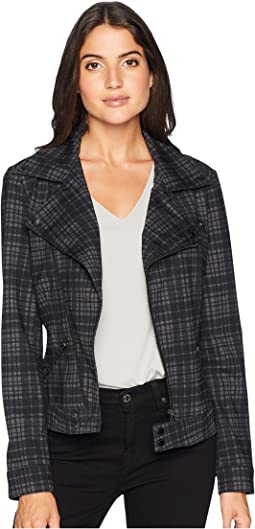 Moto Jacket in Heather Plaid Ponte Knit