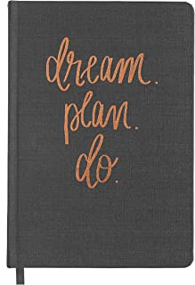 Dream Plan Do Grey and Rose Gold Fabric Journal Personal Diary Fulfill Your Dreams Graduation Boss Her College Work Cube