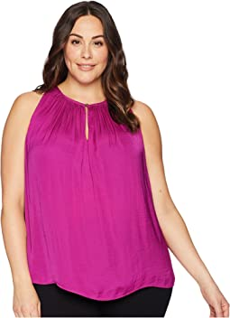 Plus Size Sleeveless Rumple Keyhole Halter Blouse