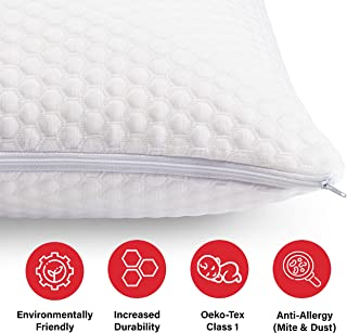 Pure Talalay Bliss - Latex Foam Pillow - Breathable Cooling Cover - Shapeable Shred - Queen - Low Profile