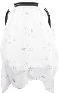Baby Car Seat Cover, Unisex Large Lightweight Breathable Cotton Muslin Canopy