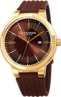 Akribos XXIV Men's Tire Tread Design - Unique Dial and Pattern On Comfortable Silicone Strap Watch - AK1007