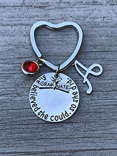 Personalized Graduation Keychain with Birthstone and Initial Charms, Custom Graduation Gift, Perfect Gift for Graduates, 2019 Edition