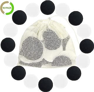 Cotton Rounds Reusable 16 Packs - Reusable Bamboo Makeup Remover Pads for face - Reusable Facial Pads Reusable Facial Cotton Rounds with Laundry Bag (Cotton, Black + White)