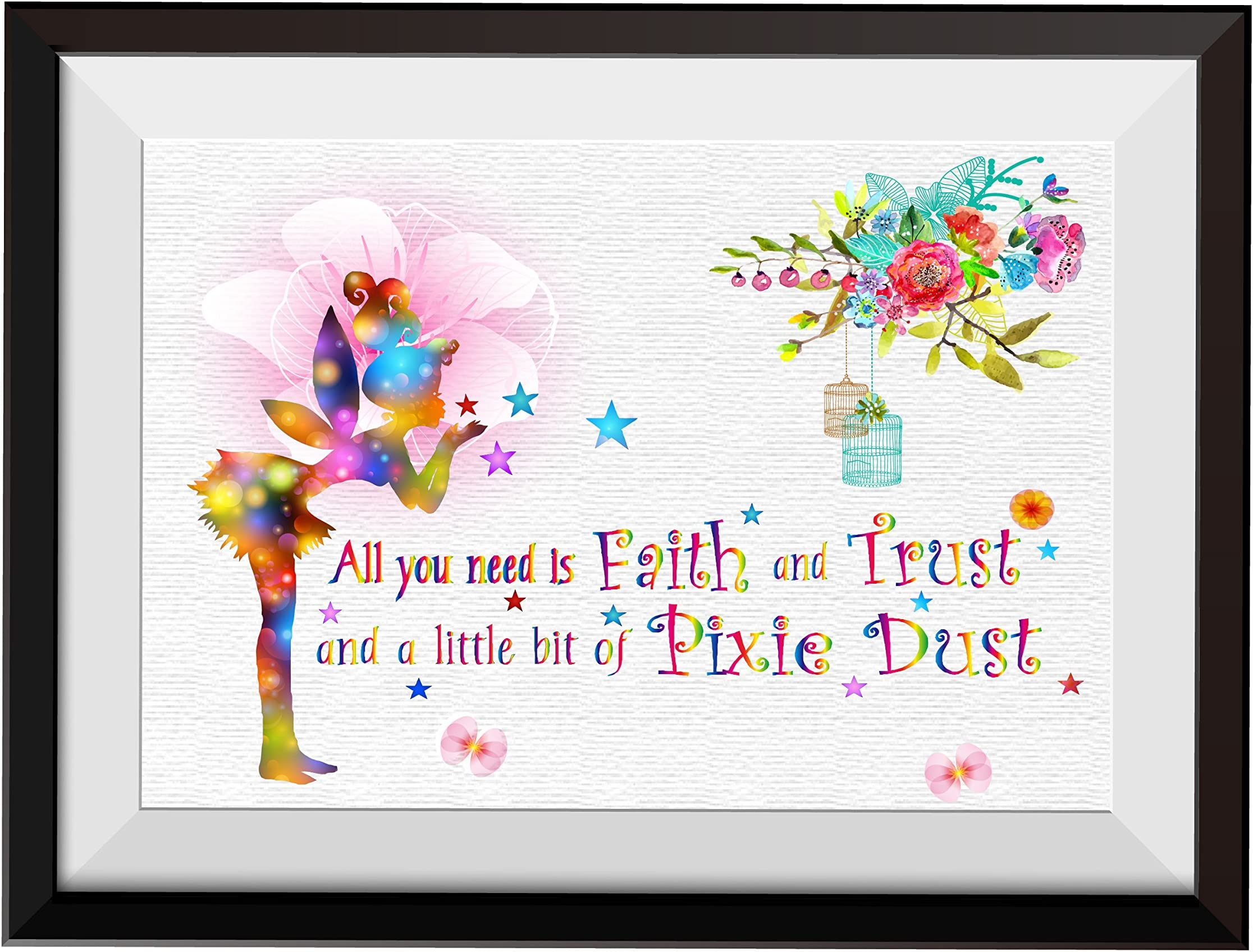 and a Little Bit of Pixie Dust Trust Kids Room Decor Princess Decoration Motivational Saying Pink Wall Decals for Girls FairyAll You Need is Faith