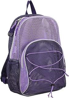 Mesh Backpack With Bungee, Blackberry/Lavender Blocked