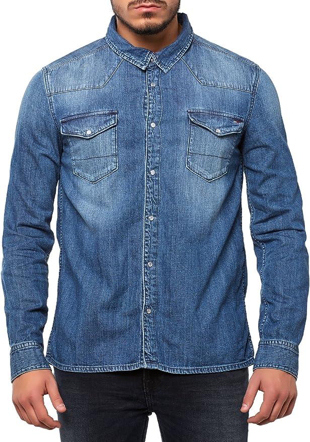 Tommy Hilfiger Gratton Shirt MONM Camisa, Azul (Montreal ...