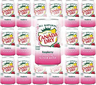 Canada Dry Raspberry Sparkling Seltzer Water, 12oz Can (Pack of 18, Total of 216 Oz)