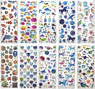 SAVITA 400+ Epoxy Stickers for Kids Girls 3D Puffy Stickers for Bullet Journal Scrapbook Planner Including Seashell/Ocean/Dolphin/Fans/Clouds/Star/Drift Bottles/Unicorn Constellation(10 Sheet)