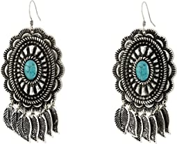 Feather Concho Drop Earrings