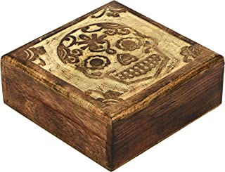 SAAGA Wooden Multipurpose Jewelry Box Keepsake Trinket Treasure Box Halloween Sugar Skull Carving | 5x5 inches