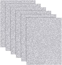 Glitter Heat Transfer Vinyl for T-Shirts 10 x 12 Inches 6 Sheets(Silver)