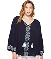Plus Size Embroidered Double Tassel Top