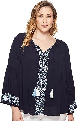 Karen Kane Plus Plus Size Embroidered Double Tassel Top