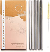 Metal Boba Straws - Eco at Heart Stainless Steel Reusable Bubble Tea Straws – Extra Wide Design For Tapioca Pearls & Thick Smoothies - Cleaning Brush Included. 8.5in Length 0.5in Diameter