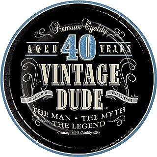 Vintage Dude 40th Birthday Dessert Plates, 24 ct