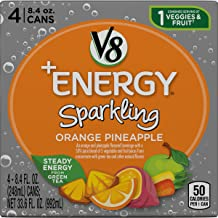 V8 +Energy Sparkling Healthy Energy Drink, Natural Energy from Tea, Orange Pineapple, 8.4 Oz Can, 4 Count