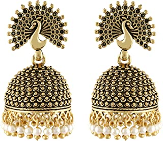 MEENAZ Traditional Wedding Temple Jewellery 22kt Gold oxidised Meenakari Ethnic Antique South Indian Round Pearl Moti Feat...