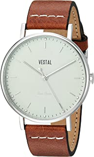Vestal Sophisticate Leather Stainless Steel Swiss-Quartz Watch with Italian Strap, Brown, 20 (Model: SP42L06.LBWH)
