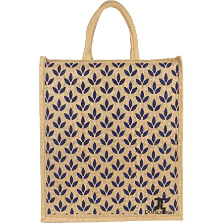 Dussle Dorf Full Handles Best Gift for Diwali Festival | Jute Bags with Zip | Jute Tote Bag | Jute Tiffin Bags | Printed Jute Bag | Jute Carry Bag