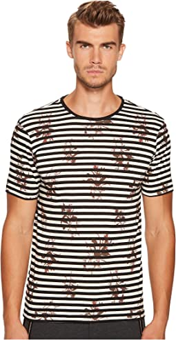The Kooples - Round-Collar Striped T-Shirt with Flower Print