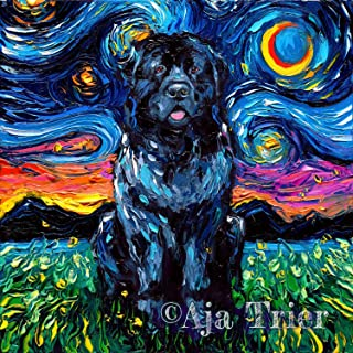 Newfoundland Starry Night van Gogh Newfie Dog Art Print by Aja choose size and type of paper Wall decor artwork