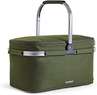 VonShef 30L Cooler Bag - Large Portable Insulated Cooler Bag for Outdoor Use, Picnic, Camping, Hiking and Beach - Green